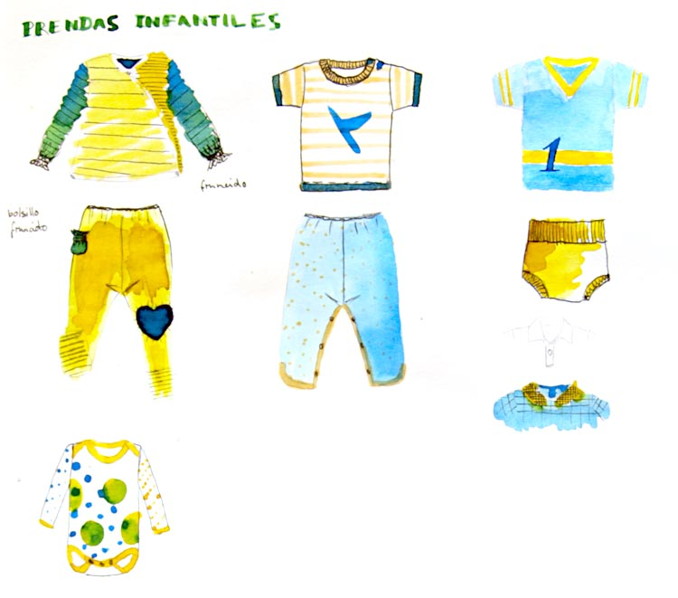 Illustrationen: Baby-Kleidung